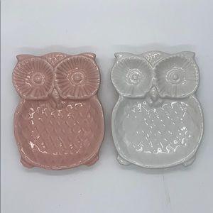 Ceramic Owl Trinket Soap Dishes